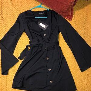 Black Tortoise Shell Button Tie Waist Flare Dress